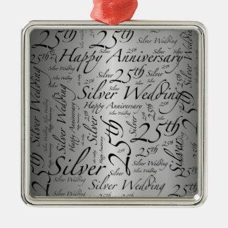 25th Anniversary Word Art Graphic Square Metal Christmas Ornament