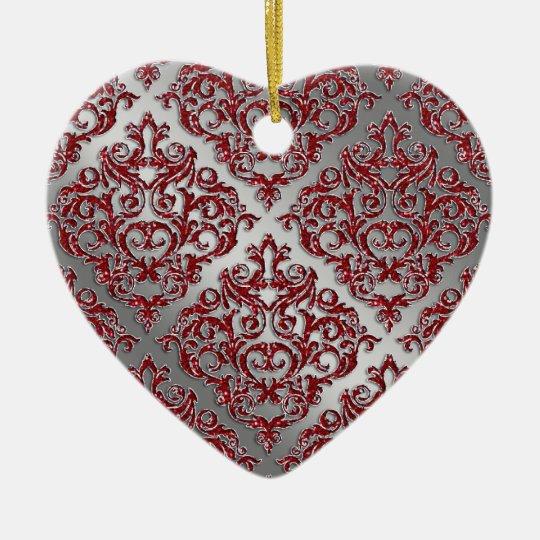 25th Anniversary Xmas Red Sparkle Silver Damask Ceramic Ornament