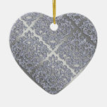 25th Anniversary Xmas Sparkle Silver Damask Ceramic Ornament