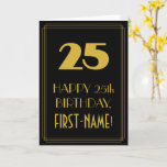 "[ Thumbnail: 25th Birthday – Art Deco Inspired Look ""25"" & Name Card ]"