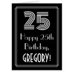 "[ Thumbnail: 25th Birthday — Art Deco Inspired Look ""25"" + Name Card ]"