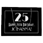 "[ Thumbnail: 25th Birthday: Art Deco Inspired Style ""25"", Name Gift Bag ]"