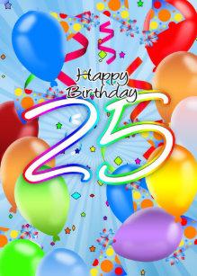 25th Balloons Birthday Cards