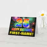 [ Thumbnail: 25th Birthday: Bold, Fun, Fireworks, Rainbow 25 Card ]