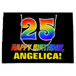 [ Thumbnail: 25th Birthday: Bold, Fun, Simple, Rainbow 25 Gift Bag ]