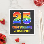 [ Thumbnail: 25th Birthday: Bold, Fun, Simple, Rainbow 25 Napkins ]