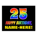 [ Thumbnail: 25th Birthday: Bold, Fun, Simple, Rainbow 25 Postcard ]