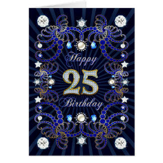 25th birthday card with masses of jewels