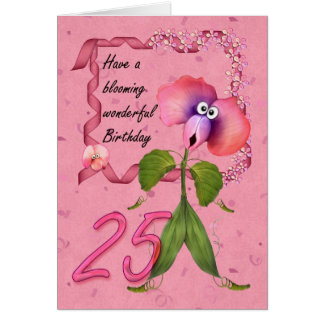 25th Birthday Card with Moonies cute bloomers,