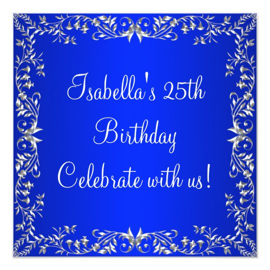 25th Birthday Cobalt Blue & Silver Floral Metal Card