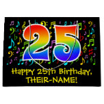 [ Thumbnail: 25th Birthday - Colorful Music Symbols, Rainbow 25 Gift Bag ]