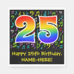 [ Thumbnail: 25th Birthday - Colorful Music Symbols, Rainbow 25 Napkins ]