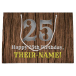 [ Thumbnail: 25th Birthday: Country Western Inspired Look, Name Gift Bag ]