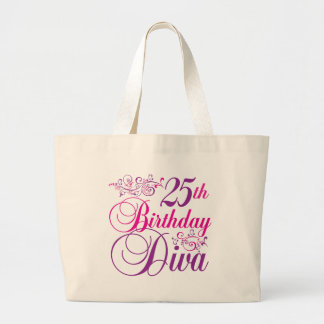 25th Birthday Diva Large Tote Bag