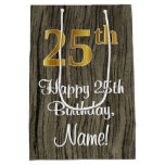 [ Thumbnail: 25th Birthday: Elegant Faux Gold Look #, Faux Wood Gift Bag ]