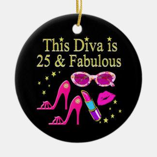 25TH BIRTHDAY FABULOUS DIVA DESIGN CERAMIC ORNAMENT