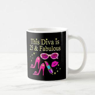 25TH BIRTHDAY FABULOUS DIVA DESIGN COFFEE MUG