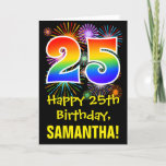 [ Thumbnail: 25th Birthday: Fun Fireworks Pattern + Rainbow 25 Card ]