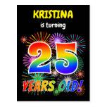 "[ Thumbnail: 25th Birthday - Fun Fireworks, Rainbow Look ""25"" Postcard ]"