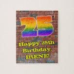 [ Thumbnail: 25th Birthday: Fun Graffiti-Inspired Rainbow 25 Jigsaw Puzzle ]