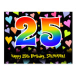 [ Thumbnail: 25th Birthday: Fun Hearts Pattern, Rainbow 25 Postcard ]