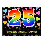 [ Thumbnail: 25th Birthday: Fun Hearts Pattern, Rainbow 25 Postcard ]