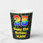 [ Thumbnail: 25th Birthday: Fun Music Notes Pattern, Rainbow 25 ]