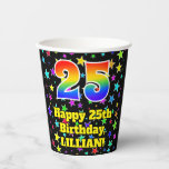 [ Thumbnail: 25th Birthday: Fun Stars Pattern and Rainbow 25 ]