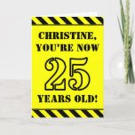 [ Thumbnail: 25th Birthday: Fun Stencil Style Text, Custom Name Card ]