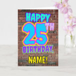 [ Thumbnail: 25th Birthday - Fun, Urban Graffiti Inspired Look Card ]