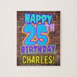[ Thumbnail: 25th Birthday ~ Fun, Urban Graffiti Inspired Look Jigsaw Puzzle ]
