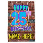 [ Thumbnail: 25th Birthday: Fun, Urban Graffiti Inspired Look Gift Bag ]