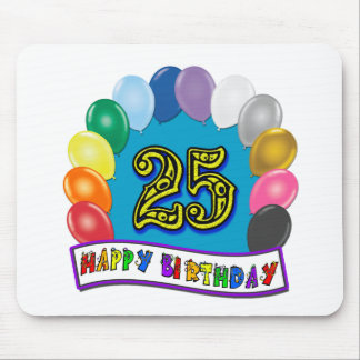 25th Birthday Gifts with Assorted Balloons Design Mouse Pad