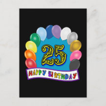 25th Birthday Gifts with Assorted Balloons Design Post