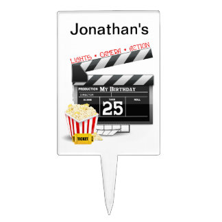 25th Birthday Hollywood Movie Party Cake Topper
