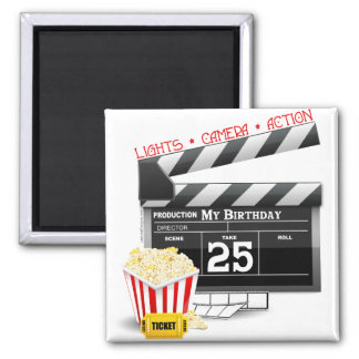 25th Birthday Hollywood Movie Party Magnet