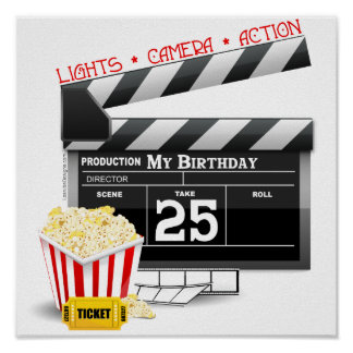 25th Birthday Hollywood Movie Party Poster