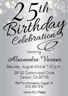 25th Silver Birthday Invitations