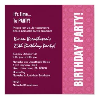 25th Birthday Modern Wine and Pink Pattern Card