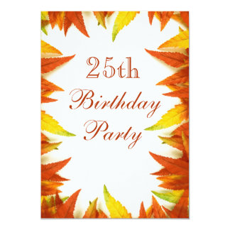 25th Birthday Party Autumn/Fall Leaves Card
