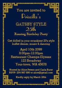 25thBirthday Party Gatsby Style Navy Gold Invitation