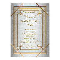 25th,Birthday party, Gatsby style, silver & gold Card