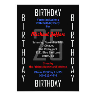 25th Birthday Party Invitation 25