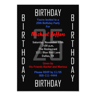 25th Birthday Party Invitation 25