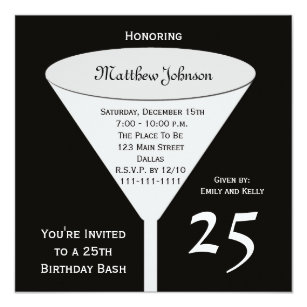25th birthday invitations zazzle