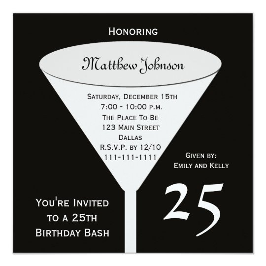 25th Birthday Party Invitation Bash