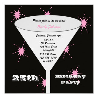 25th Birthday Party Invitation -- Pink 25th Toast