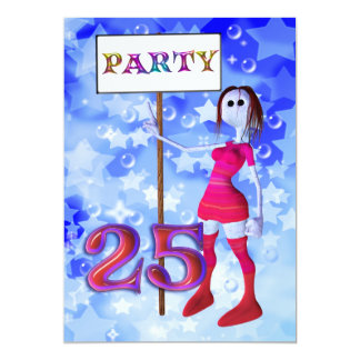 25th Birthday party sign board invitation