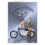25th Birthday party with a girl and motorbike Greeting Card