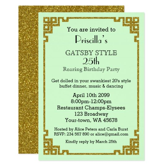 25thBirthday Party Woman Gatsby Mint Gold Invitation